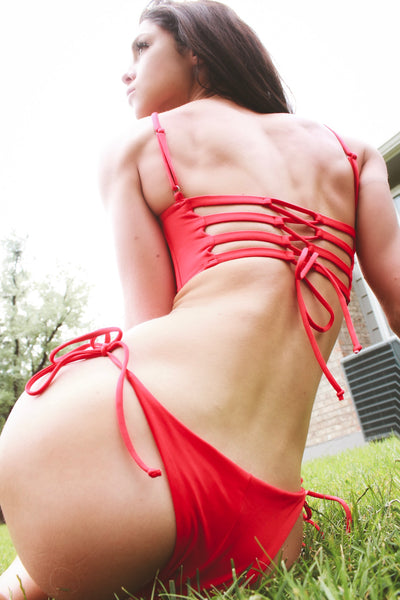 lace up red bikini