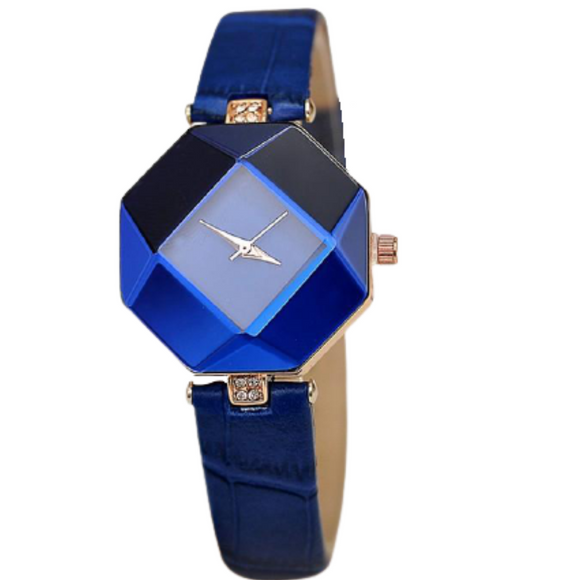Gem Cut Geometry Crystal Women Quartz Wristwatch_1