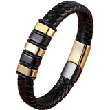 Black Gold Stainless Steel Magnetic Button Bracelet_1