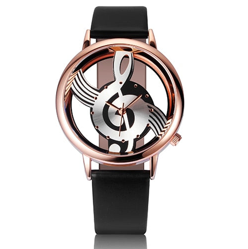 Hollow Skeleton Musical Note Style Women Quartz Wristwatch_1