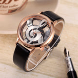 Hollow Skeleton Musical Note Style Women Quartz Wristwatch_2