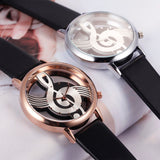 Hollow Skeleton Musical Note Style Women Quartz Wristwatch_7