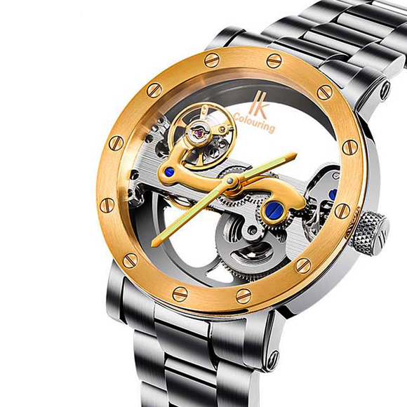 IK Colouring Automatic Mechanical Watch Dial Hollow Skeleton_1