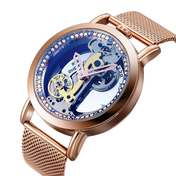 Bellissimo Skeleton Sapphire Crystal Women Mechanical Watch_1