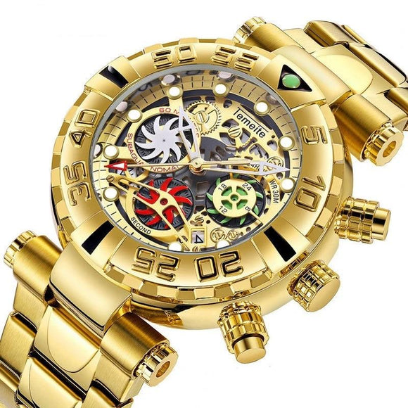 Multi-function Chronograph Gold Watch_1