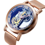 Bellissimo Skeleton Sapphire Crystal Women Mechanical Watch_5