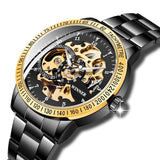 Golden Steel Skeleton Luminous Watch_1