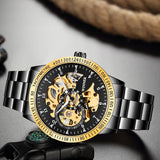 Golden Steel Skeleton Luminous Watch_7