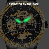 Golden Steel Skeleton Luminous Watch_6