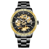 Golden Steel Skeleton Luminous Watch_3