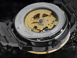 Golden Steel Skeleton Luminous Watch_4