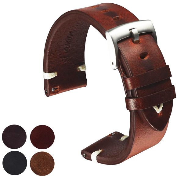 Handmade Italian Leather Strap Watchband 18mm 20mm 22mm_1