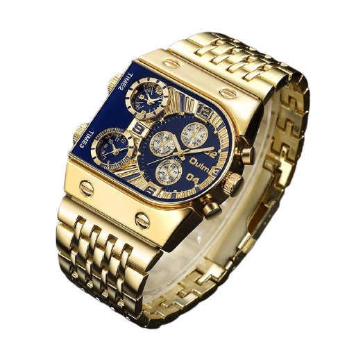 Luxury Multi Clock Stainless Square Watch_1