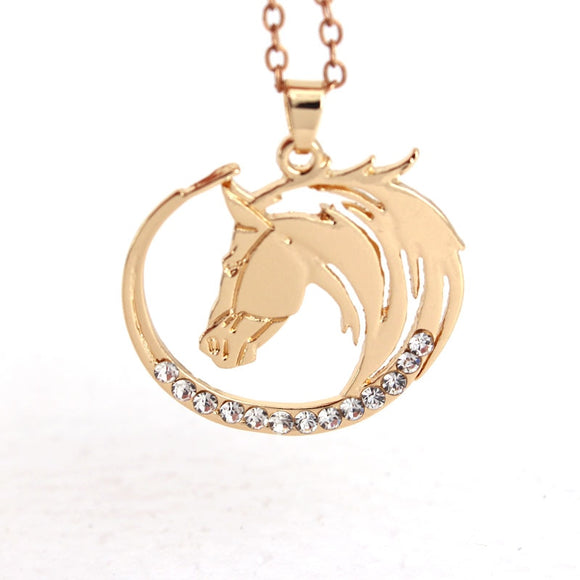 Cute Horse Pendant Necklace Round Shape Horse Head_1