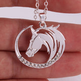 Cute Horse Pendant Necklace Round Shape Horse Head_4