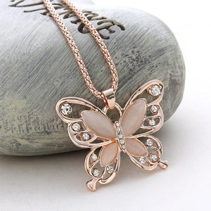 Rose Gold Natural Stone Butterfly Necklace_1