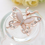 Rose Gold Natural Stone Butterfly Necklace_3