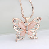 Rose Gold Natural Stone Butterfly Necklace_2