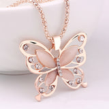 Rose Gold Natural Stone Butterfly Necklace_6