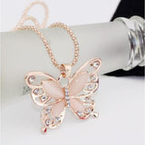 Rose Gold Natural Stone Butterfly Necklace_4