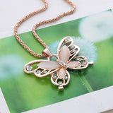 Rose Gold Natural Stone Butterfly Necklace_5