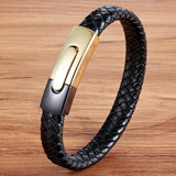 Black Gold Stainless Steel Magnetic Button Bracelet_5