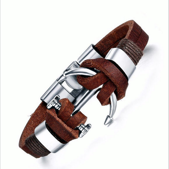 Leather Charm Bracelet bangle for Men_1