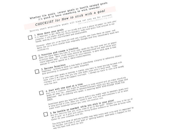 How to stick with a goal checklist