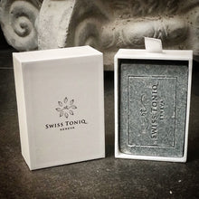 Load image into Gallery viewer, Swiss Toniq, Swiss Tonic, Suisse Tonique, organic charcoal and dead sea salt soap, natural charcoal soap, natural charcoal and dead sea salt soap, detoxing charcoal soap, hydrating charcoal soap