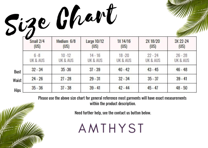 Size Chart for Amthyst Boutique