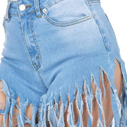 fringe women's plus size denim shorts
