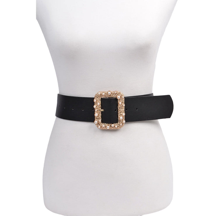 women's black belt gold buckle