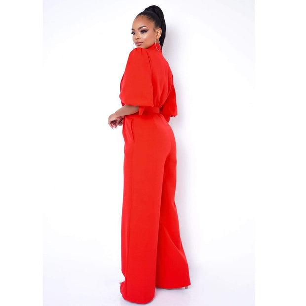 Red Wide Leg Jumpsuit to wear to the office