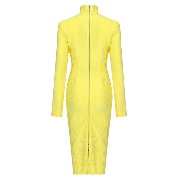 long sleeve yellow bodycon dress