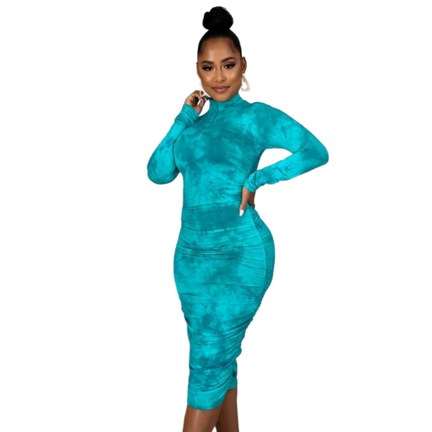 teal bodycon dress