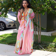 pink maxi dress plus size