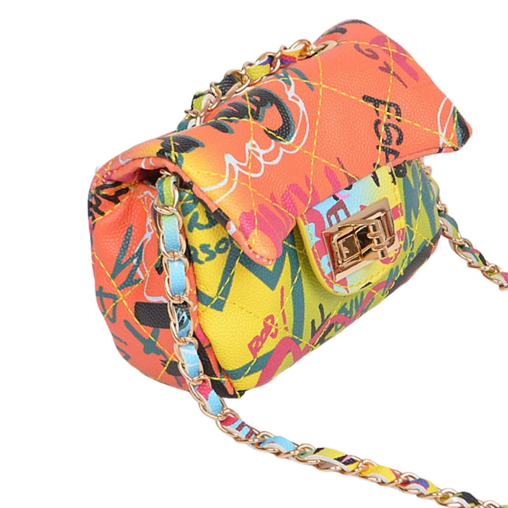 graffiti print handbag