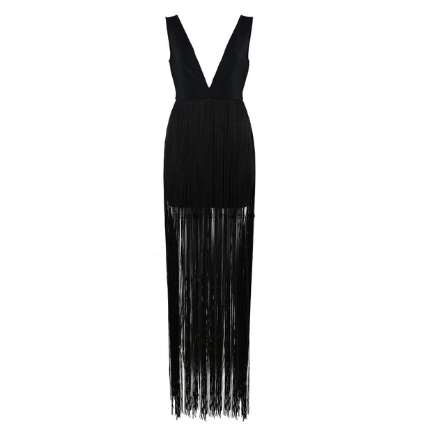 Black Mini Dress with Fringe