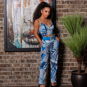 2 piece crop top pants set