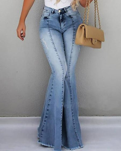 High Waist Pocket Bell-Bottom Jeans - Amthyst Co.