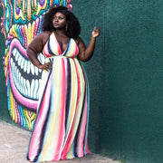 Charmaine Rainbow Maxi Dress (Plus Size Only) - Amthyst Co.