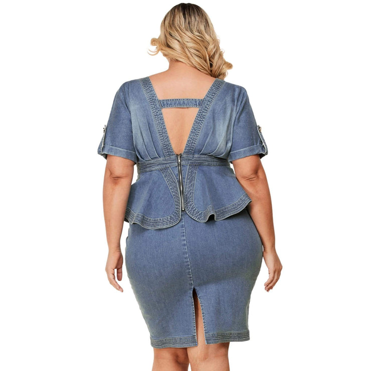 denim plus size peplum dress