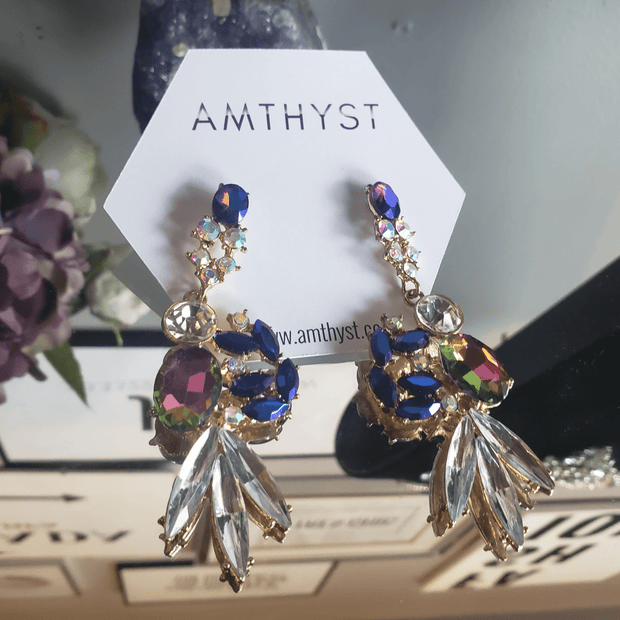 Molly The Peacock Colored Earrings