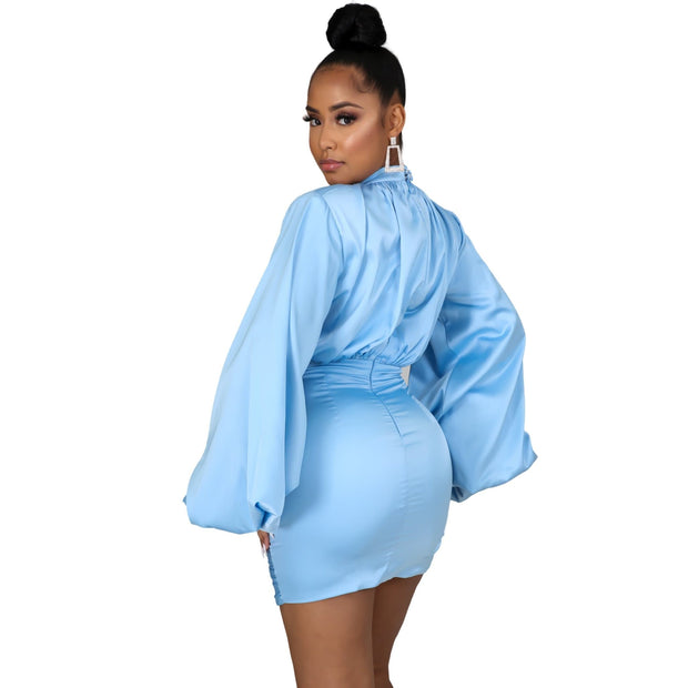 sky blue trendy dress