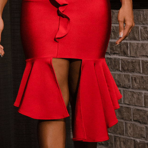 Ruffle Detail Red Dress Boutique