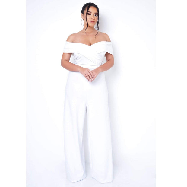 Ximena Off Shoulder Jumpsuit (Plus Size Only)