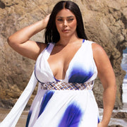 tie dye maxi dress plus size