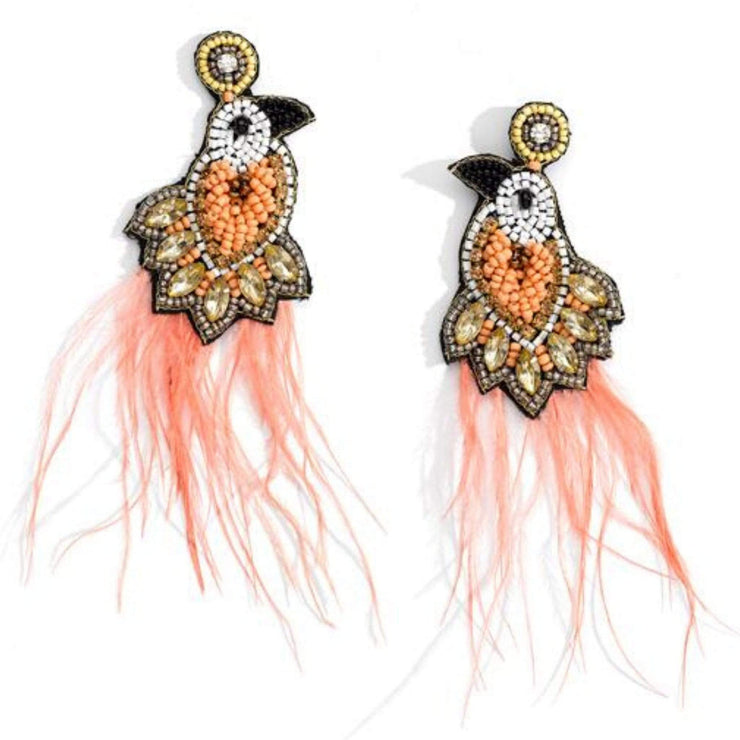 Beaded and Feather Statement Earrings