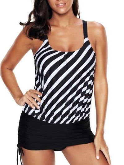 Women Stripe Printed Tank Suit Swimwear