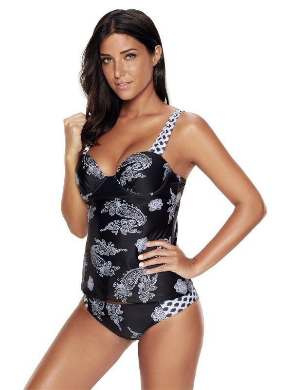 Women Sexy Plus Size Printed Tankini Set Swimsuit